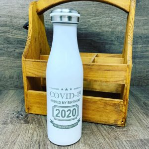 Vintage Milk Bottle Style water bottle with COVID-19 birthday message