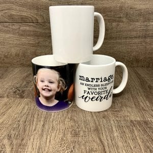 Photos, Logos, Messages and fun stuff on personalized ceramic mugs.