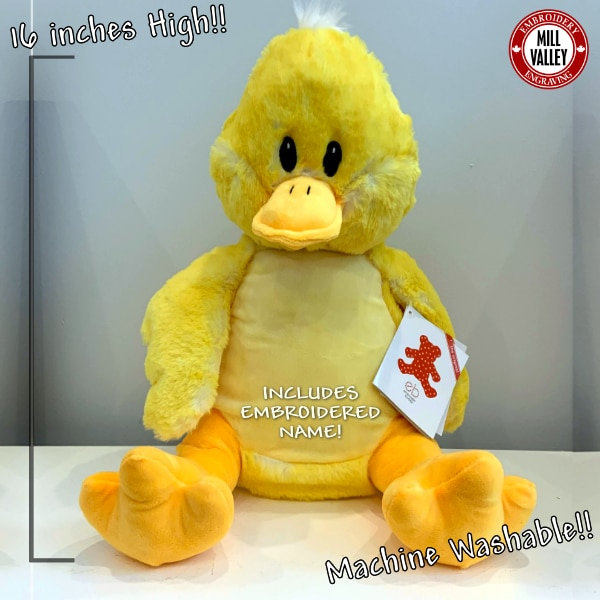 Adorable Giant Stuffed duck with included embroidery!