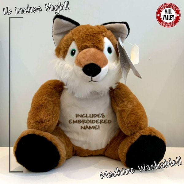 Adorable Giant Stuffed Fox with included embroidery!
