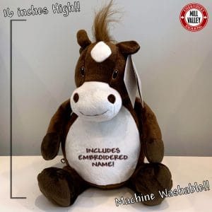 Adorable Giant Stuffed horse with included embroidery!