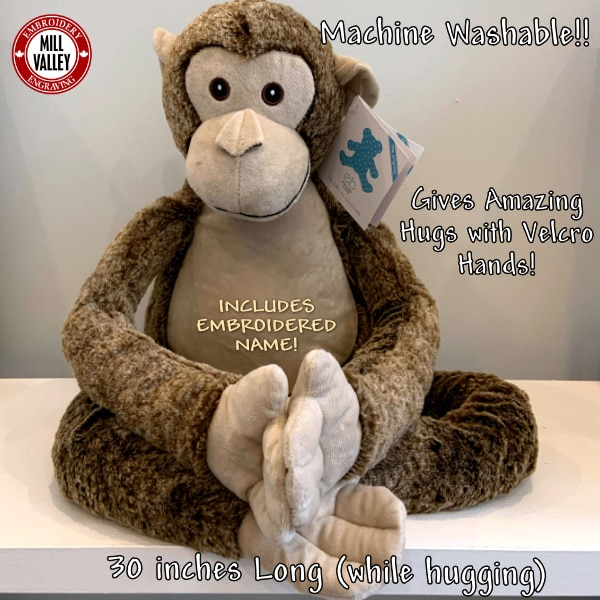 Adorable Giant Stuffed Monkey with included embroidery!