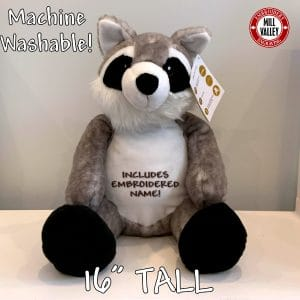 Adorable Giant Stuffed Raccoon with included embroidery!